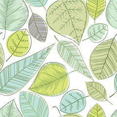 Beautiful spring leaves seamless pattern.