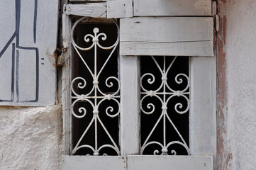 old window metal motif