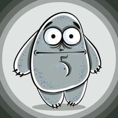 Funny confused cartoon monster.