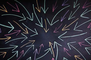 arrows on blackboard