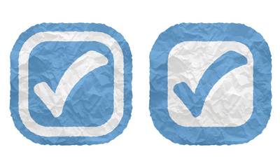 two frames with texture crumpled paper and check box