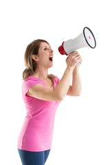 Young woman shouting into bullhorn