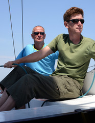 Two sailors on the yacht