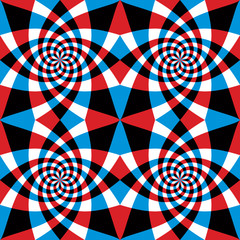 Spiral red and blue whirls seamless pattern.