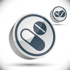 Medical pills 3d vector icon.