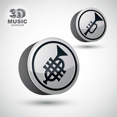 Music pipe icon isolated, 3d vector music theme design element.