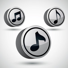 Music note icon isolated, 3d vector music theme.