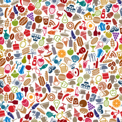 Food and beverages seamless background.