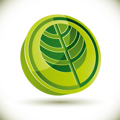 Tree 3d vector round icon.
