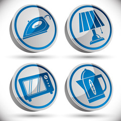 Household appliances icons set 4.