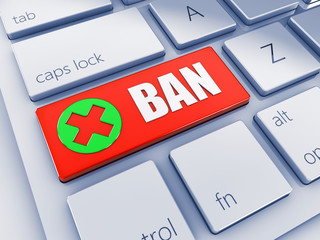 Red Ban key with green icon , computer keyboard