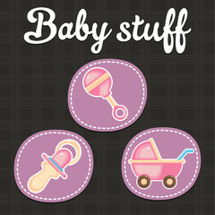 Baby scrapbook icon collection