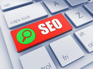 Red SEO key with green icon , computer keyboard