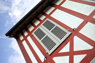 Facade of a half-timbered house in Normandy, France