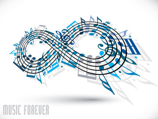 Forever music concept, infinity symbol.