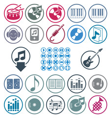 Music icons set, simple single color vector icons set for music