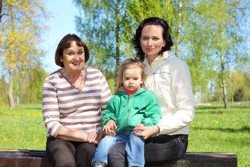 Portrait of happy grandmother, daughter and granddaughter