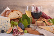 canvas print picture - wine,cheese and sausage