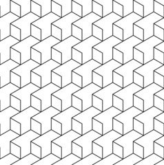 Black and white geometric seamless pattern with line and rhombus