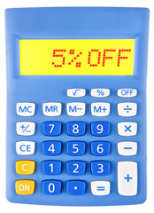 Calculator with 5%OFF on display on white background