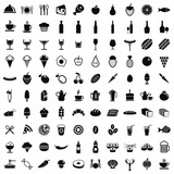 Fototapety 100 food and drink icons set.