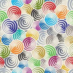 Funky circles retro style seamless pattern.