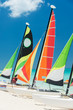 Sailboats on a beautiful beach in Cuba