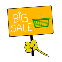 hand holding a sign with message for big sale