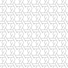 Black and white geometric seamless pattern with line and weave s