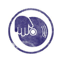 Vinyl and dj hand icon with halftone dots print texture.