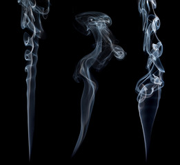 Three stream of a blue smoke