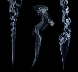 Three stream of a blue smoke