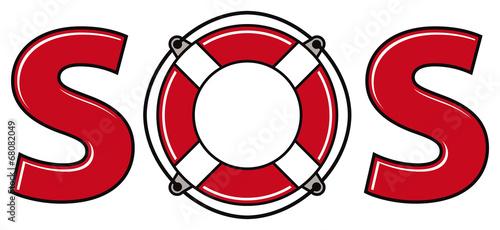 Fototapeta SOS signal with life ring.
