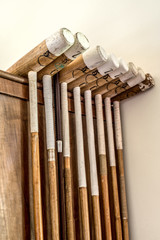 Polo sticks or clubs at Argentinean countryside house.