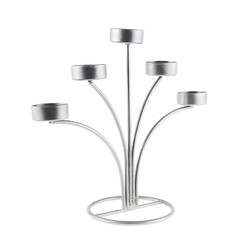 Five tea candles metal candelabrum
