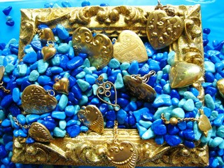 Teal and Aqua Stones, Gold Hearts in Gold Frame