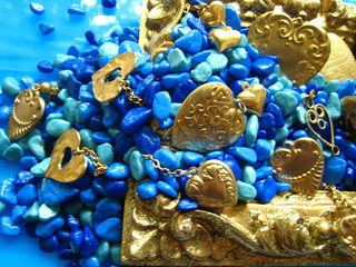 Gold Hearts, Blue Stones, Gold Frame Close Up