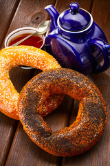 bagel and tea for breakfast