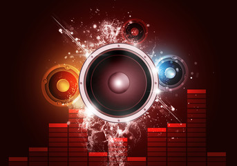 Music Party Red Background