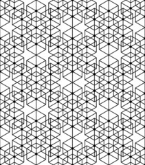 Black and white geometric seamless pattern with line, hexagon, t