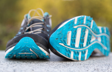 Close up shot of a pair of running shoes. Shallow D.O.F.