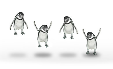 Group of happy penguins jumping and flying.