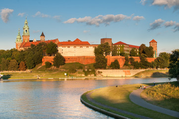 Vistula River before Wawel Royal Castle in Krakow