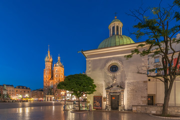 The Main Market Square in Krakow with Church of St. Wojciech