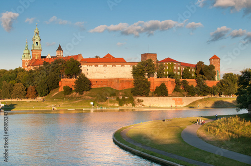 Panel Szklany Vistula River before Wawel Royal Castle in Krakow
