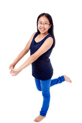 Asian Girl in Braces Striking a Pose