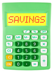 Calculator with savings on display isolated on white background
