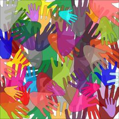 mani di differenti colori,cultura ed etnia diversa