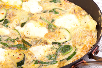 courgette, spinach and ricotta cheese omlet