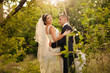 newly married couple outdoors, swing